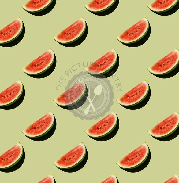 Fresh Watermelon cut piece on green background Pattern