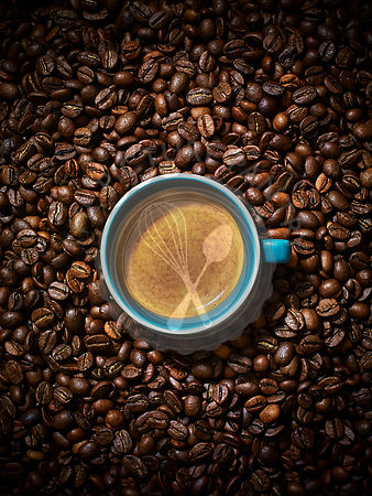 An espresso coffee in a blue ceramic mug against a coffee bean background.