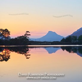 Image - Stac Pollaidh, Inverpolly, Wester Ross, Highland, Scotland.  Reflected in the water of a small lochan at sunset.