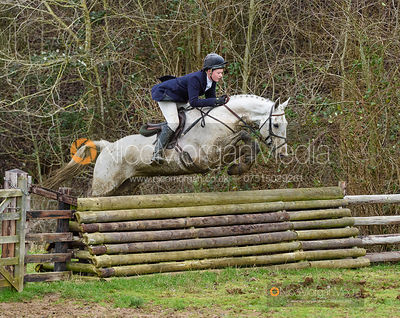 Meghan Healy jumping a fence at Thorpe Satchville. The Beaufort Hunt visit the Quorn at Cream Gorse 13/1