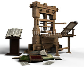 CGI Old Printing Press and Books