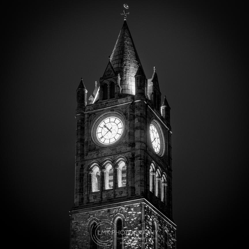 Guildhall Clock At Night Mono