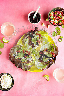 Vegan Taco Lettuce Wraps served with Pineapple Salsa