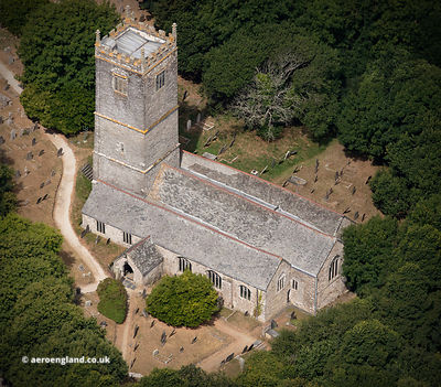 Church of St Willow Lanteglos from the air