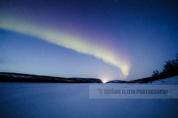 Early evening blue hour Aurora on the Teno River