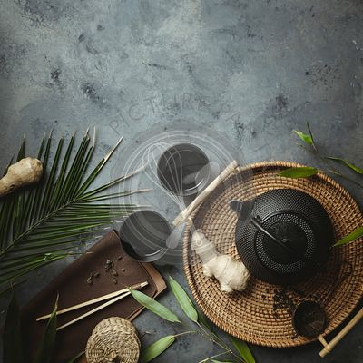 Traditional Asian tea ceremony arrangement, flat lay