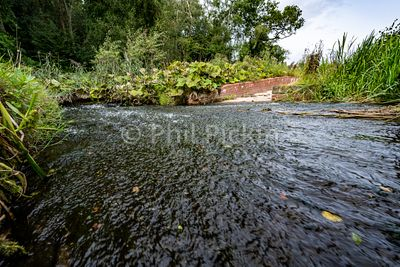 Low level image of canal water running off into a spillway overflow on the Montgomery Canal in Shropshire UK