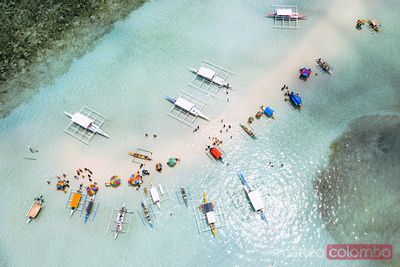 Aerial view of sandbar with people, Bohol, Philippines