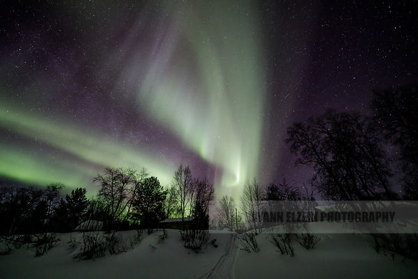 Northern lights dancing above a wooden cottage in Kaamanen in Lapland, Finland