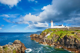Cliff landscape with lighthouse at Fanad Head - Europe, Ireland, Donegal, Fanad, Fanad Head - digital