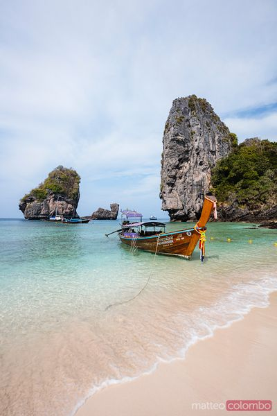Iconic longtail boat on Nui beach, Phi Phi islands, Thailand