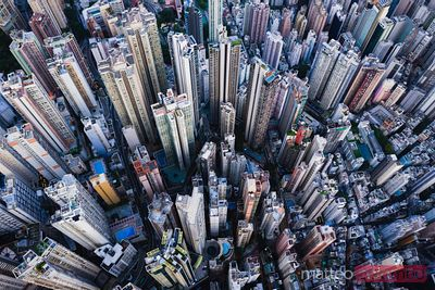 Aerial view of high apartment buildings, Hong Kong