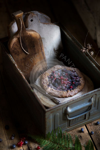 Berry galette in a rustic box