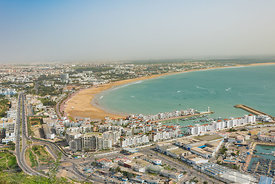 Agadir, panoramic view from the Agadir Kasbah or Agadir Fortress in Morocco