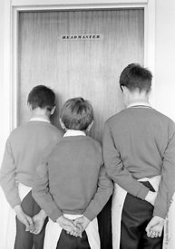 #83820,  Boys who have been sent to the Head, Whitworth Comprehensive School, Whitworth, Lancashire.  1970.  Shot for the boo...