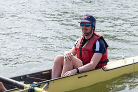 #124921,  Mike Walmsley, cox of one of the Christ Church College boats.  The 'Summer Eights', a week of rowing races for the ...