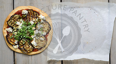 Aubergine, red pepper and goats cheese tart