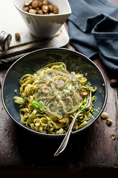 Pasta with celery and hazelnut pesto