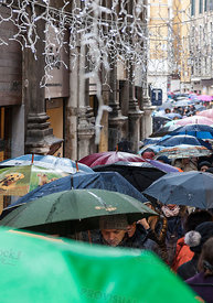 Crowd of Umbrellas in Venice