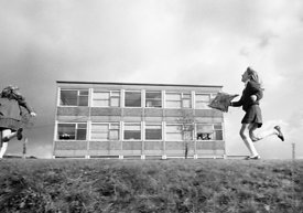 #83805,  Flying a kite, Whitworth Comprehensive School, Whitworth, Lancashire.  1970.  Shot for the book, 'Family and School,...