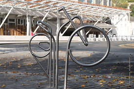#122524,  Bicycle stands, designed by EMBT/RMJM, to be an integral part of the landscape at the Scottish Parliament building ...