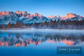 Mountain impression reflection Allgaeu Alps at Hopfensee - Europe, Germany, Bavaria, Swabia, Ostallgäu, Füssen, Hopfensee (Al...