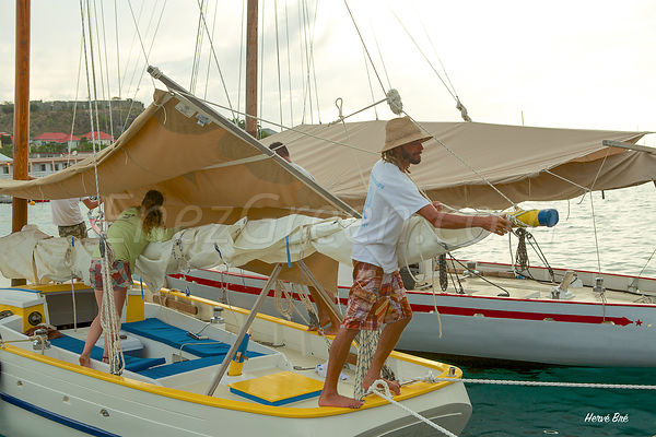Traditional Carriacou wooden sailing boat festival in Saint-Barthélemy