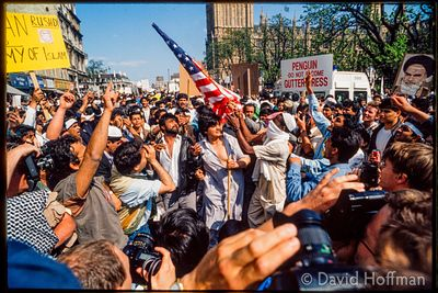 "Muslim protest against the book ""The Satanic Verses"" by Salman Rushdie and published by Penguin."