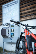 Trek Powerfly at charging station. Shot for World of MTB.