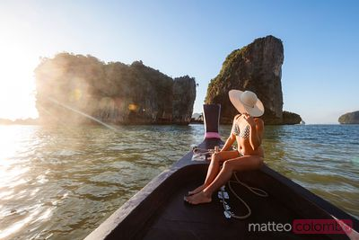 Tourist looking at James Bond Island, Phang Nga bay, Thailand