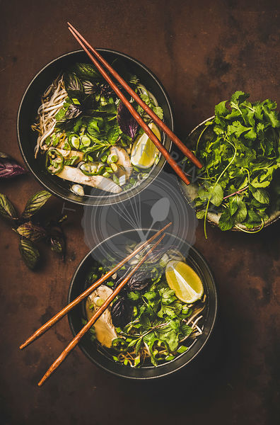 Vietnamese traditional rice noodle and chicken soup Pho Ga