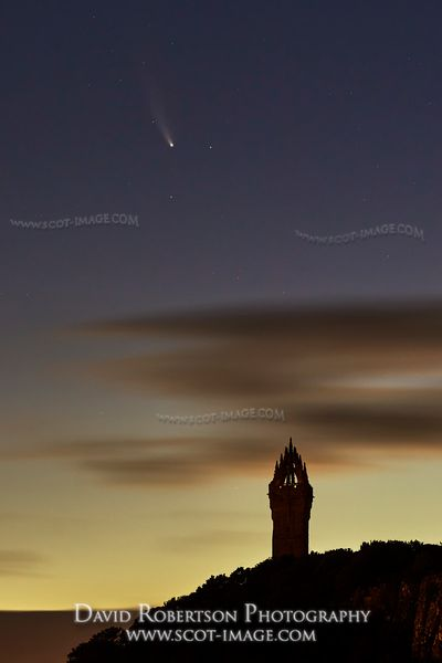 Prints & Stock Image - Neowise Comet,  C/2020 F3, over the Wallace Monument, Stirling, Scotland.  Taken at 02:34AM 19th July ...