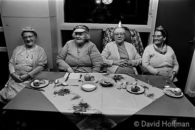 Christmas party. Old people's clubs in Whitechapel and Shoreditch, 1974 & 1975.