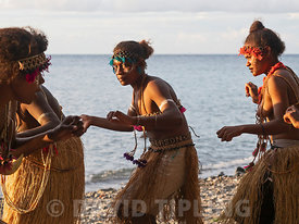Savo Island women performing dance on the beach Savo Island, Solomon Islands, South Pacific