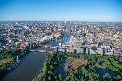 Aerial view of Battersea, Nine Elms and Vauxhall, London.