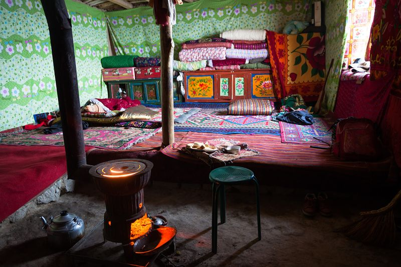 Inside a kyrgyz traditional yurt, Xinjiang, China