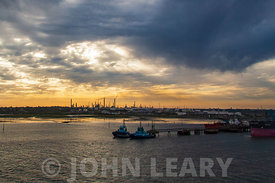 Fawley Refinery at Sunset.