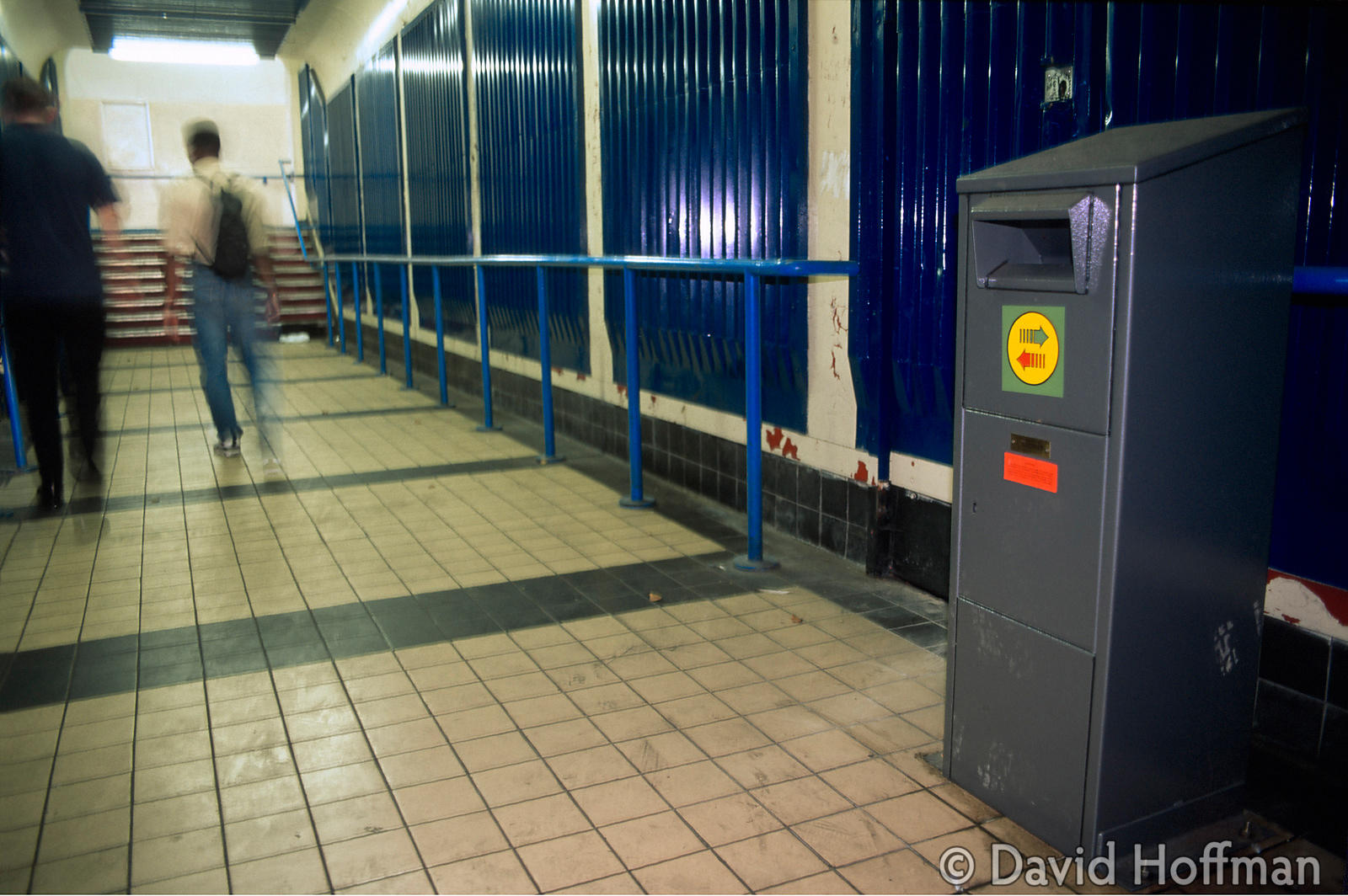 4.21-303 Armoured sharps bin at Bethnal Green rail station, situated in a dark back street frequented by prostitutes and drug...