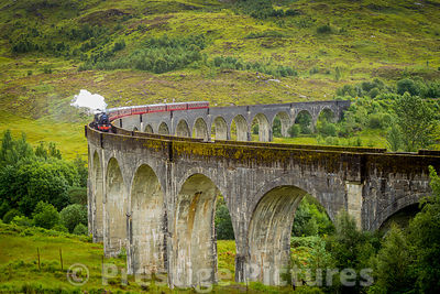 The Jacobite Steam Train on Glenfinnan Viaduct in Scotland