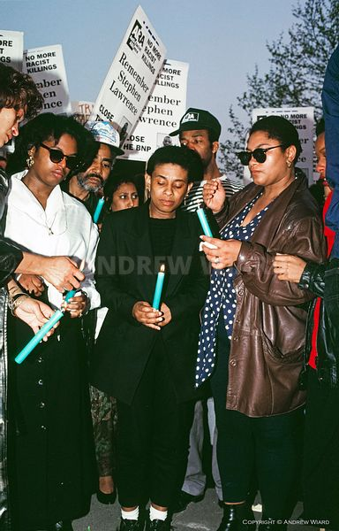England, UK. 29.4.1993. London. Well Hall Road, Eltham. Doreen Lawrence at  a candlelight vigil a week after her son Stephen ...