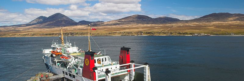 ,Image - Caledonian MacBrayne ferry, Port Askaig, Islay. Paps of Jura in view