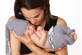 Mother and baby Newborn studio portrait