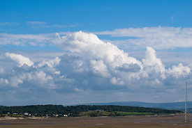 #73791,  Cumulus clouds over the Lake District seen from  Arnside, Lancashire, UK.