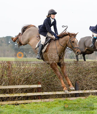 Kate Brooks jumping a hedge near the meet