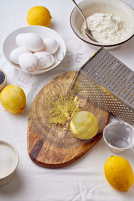 Ingredients for cooking lemon sponge cake with poppy seeds