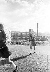 #83808,  Flying a kite, Whitworth Comprehensive School, Whitworth, Lancashire.  1970.  Shot for the book, 'Family and School,...