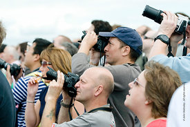 #052281,  People watching the flying display at the Farnborough International Airshow  2009.