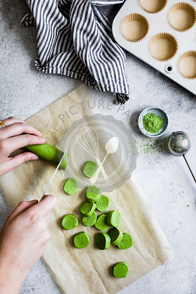 Preparation for the making of matcha and chocolate cupcakes.