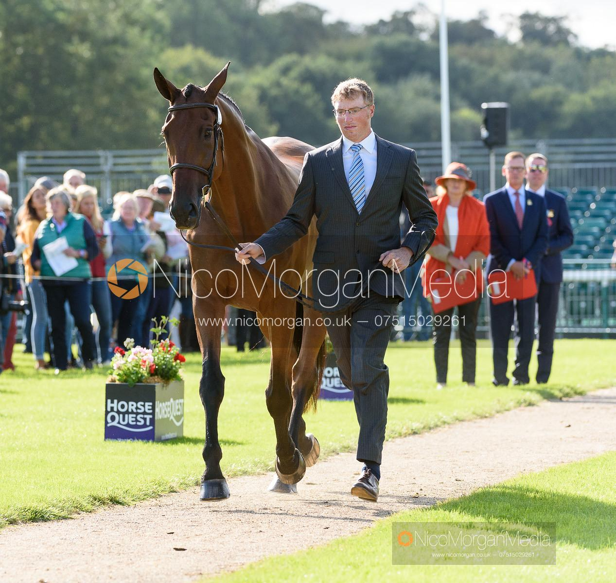 Doug Payne and VANDIVER at the trot up, Land Rover Burghley Horse Trials 2019