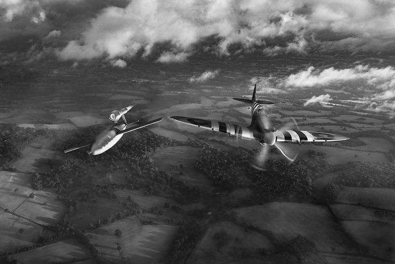 Spitfire tipping V1 flying bomb B&W version